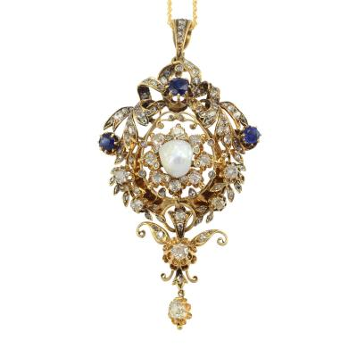 Baroque Pearl Sapphire and Diamond 18K Pendant or Brooch