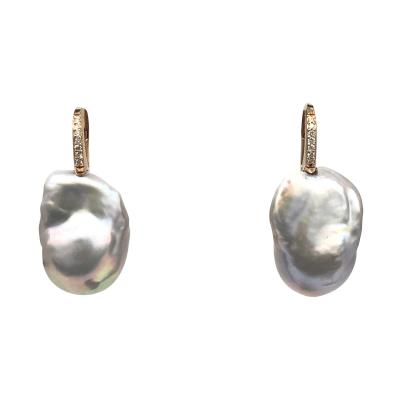 Baroque Pearl With White Diamond On Rose Gold 18 Karat Drop Earring