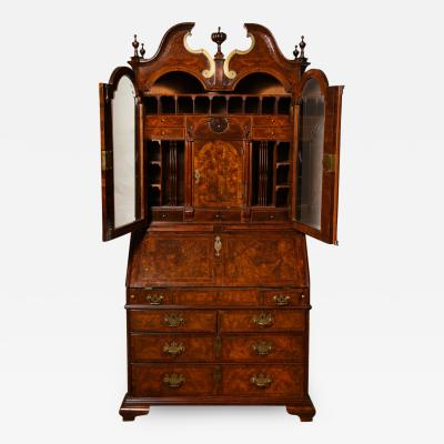 Baroque Period Burl Walnut Bureau Bookcase