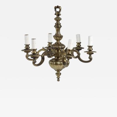 Baroque Style Bronze Six Light Chandelier