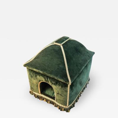 Baroque Style Green Upholstered Dog House French 20th Century