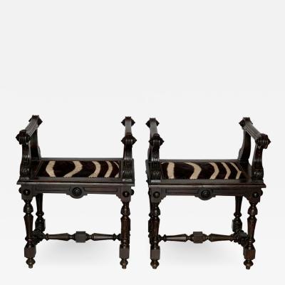 Baroque Style Zebra Hide Walnut Tabourets