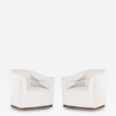 Barrel Back Swivel Chairs in Wool Sweden 1950s