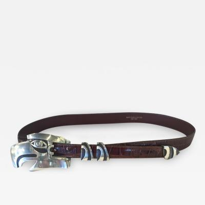 Barry Kieselstein Cord Barry Kieselstein Cord Large Eagle Head Sterling Alligator Belt