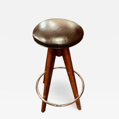 Barstools Art Deco Wood Chrome and Leather
