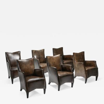 Bart Van Bekhoven Bart Van Bekhoven Armchairs in Brown Grey Patina Sheep Leather 1970s