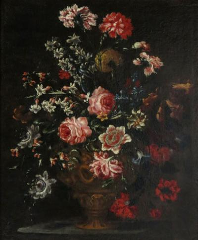 Bartolomeo Bimbi Bouquet of Carnations Roses and Hyacinths in an embossed Metal Vase