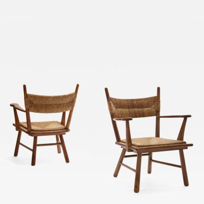 Bas Van Pelt Bas Van Pelt armchairs in solid oak and straw the Netherlands 1940s