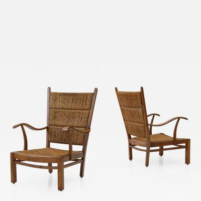 Bas Van Pelt Bas Van Pelt attr High Back Armchairs in Oak and Straw the Netherlands 1940s