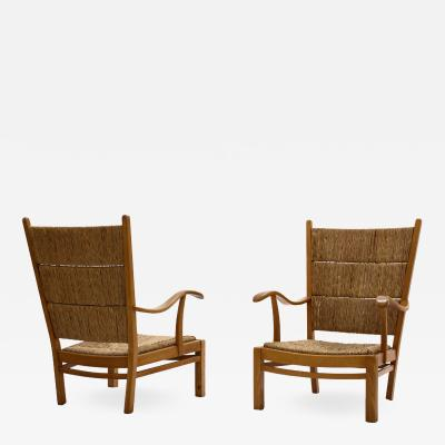 Bas Van Pelt Bas Van Pelt high back armchairs in beech and straw the Netherlands 1940s