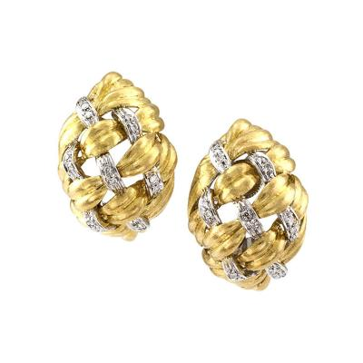 Basket Weave Gold and Diamond Domed Ear Clips
