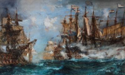 Battle of Camperdown by Charles Dixon