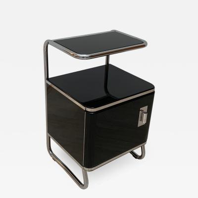 Bauhaus Nightstand Side Table Steeltube and Black Lacquer Germany circa 1930