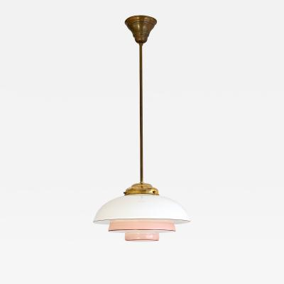 Bauhaus Pendant Lamp in Opaline Pink and Red Painted Glass and Brass 1930s