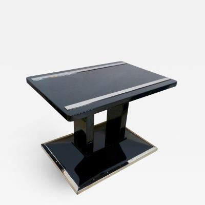 Bauhaus Side Luggage Table Black Lacquer and Chrome Austria circa 1920