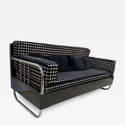 Bauhaus Sofa Chromed Steeltubes and Black Lacquered Wood Germany circa 1930s