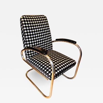 Bauhaus Tubular Steel Chair FUN Fabric Germany circa 1925