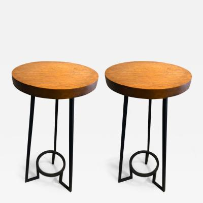 Bauhaus modernist french blond wood pair of side tables