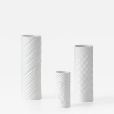 Bavarian op art white vases Germany 1960s