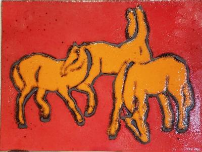 Bay Keramik BAY KERAMIK PFERDE HORSES WALL PLATE 1967