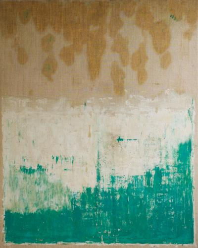Beatrice Pontacq AIR TERRE VERT ET LIN Abstract Painting