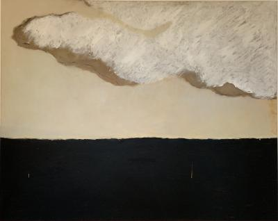 Beatrice Pontacq GRAND NUAGE ET HORIZON PRESQUE NOIR Abstract Painting