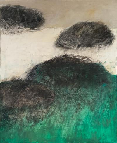 Beatrice Pontacq NUAGES NOIRS HORIZON VERT Abstract Painting