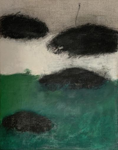 Beatrice Pontacq NUAGES NOIRS HORIZON VERT II Abstract Painting