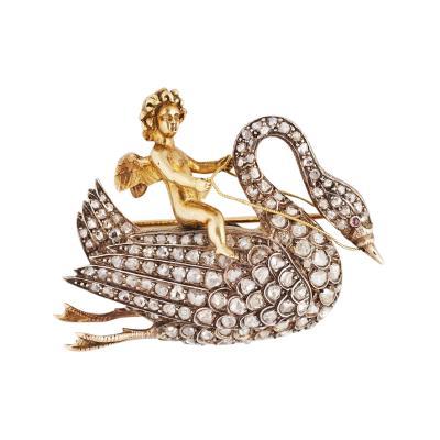 Beautiful Antique Angel Riding a Diamond Swan Gold Brooch