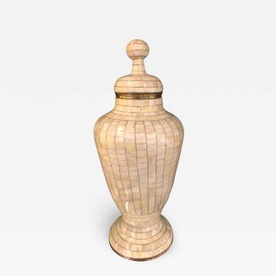 Beautiful Antique Natural Bone Over Brass Urn