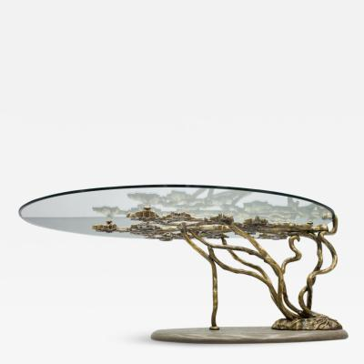 Beautiful Bronze Tree Form Sofa Table with Slate Base and Glass Top 1960s