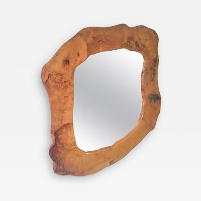 Beautiful Brutalist Organic Modern Sculpted Burl Wood Mirror