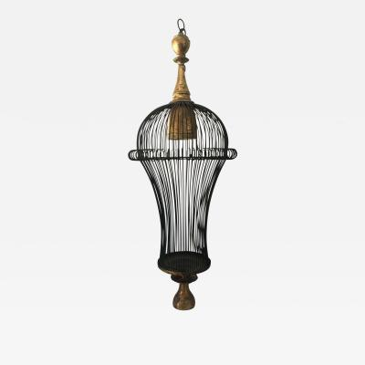 Beautiful Cage Style Modern Chandelier with Gilt Metal Details