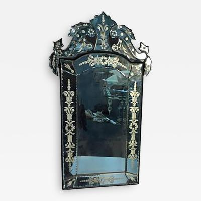 Beautiful Cut Glass and Etched Venetian Wall Mirror