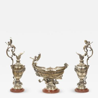 Beautiful French Three Piece Silvered Bronze Table Garniture 19th Century