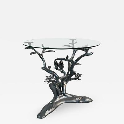 Beautiful Giacometti Style Parrots Amongst Flowering Tree Table