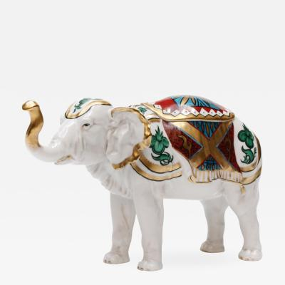 Beautiful Hand Painted Rudolstadt Porcelain Elephant Humidor with Lid