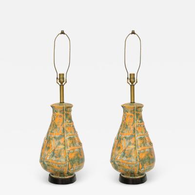 Beautiful Large Midcentury Orange and Green Bamboo Motif Pattern
