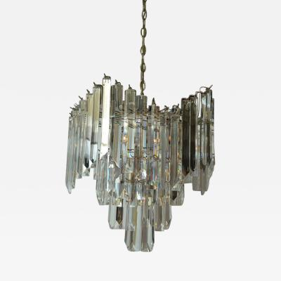 Beautiful Mid Century Lucite Chandelier with Nickel Plated Frame