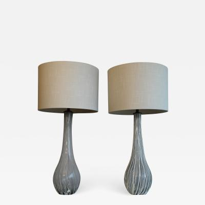 Beautiful Pair OF Murano Overlay Table Lamps