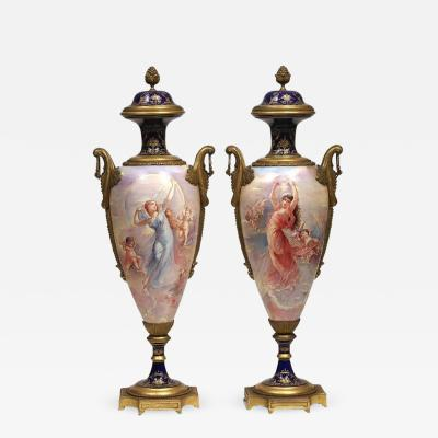 Beautiful Pair of French Bronze Mounted Sevres Porcelain Vases and Covers