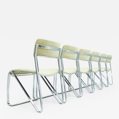 Beautiful Set of Six Dining Chairs in Chrome and Velvet Italy 1970s