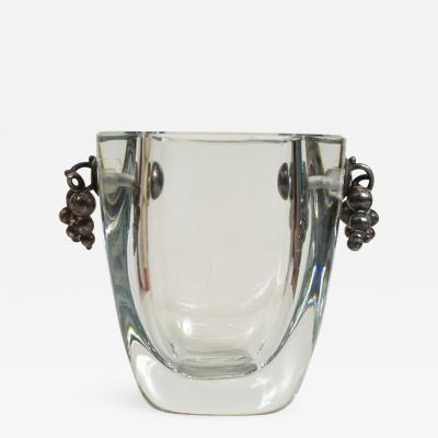 Beautiful Thick Glass Vase With Silver Grapevine Accents