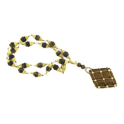 Beautiful Tigers Eye Pearl and Diamond Long Pendant Necklace