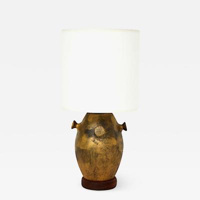 Beautiful Vintage Italian Bronze Glazed Pottery Lamp