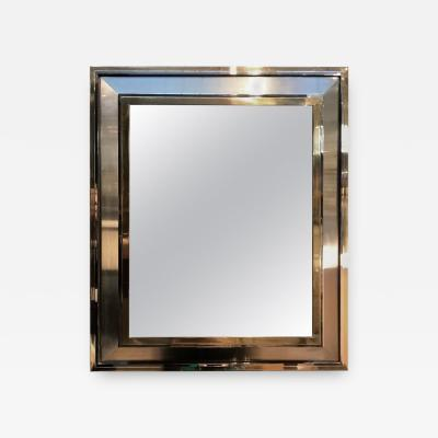 Beautiful modernist brass chrome and brushed steel reactangular mirror