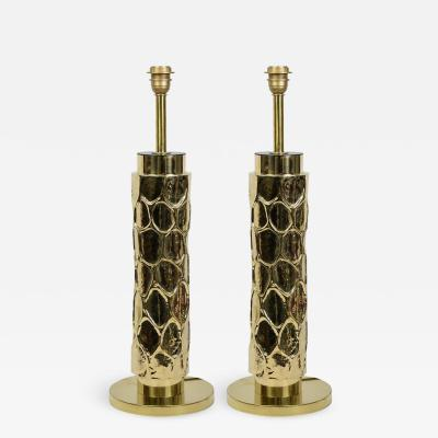 Beautiful pair of brass table lamps