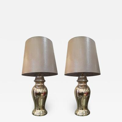 Beautiful pair of eglomized glass table lamps