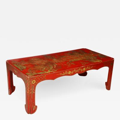 Beautifully Hand Painted Red Lacquered Chinoiserie Cocktail Coffee Table