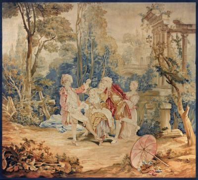 Beauvais Royal Manufacture 18th Century antique tapestry by Fran ois Boucher Garden Games